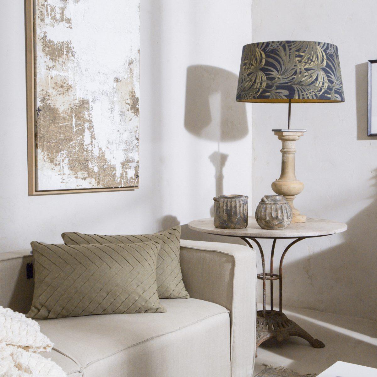 Pantalla de lino con estampado de palmeras de 55x34cm